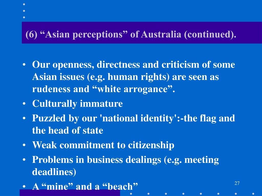 "(6) ""Asian perceptions"" of Australia (continued)."