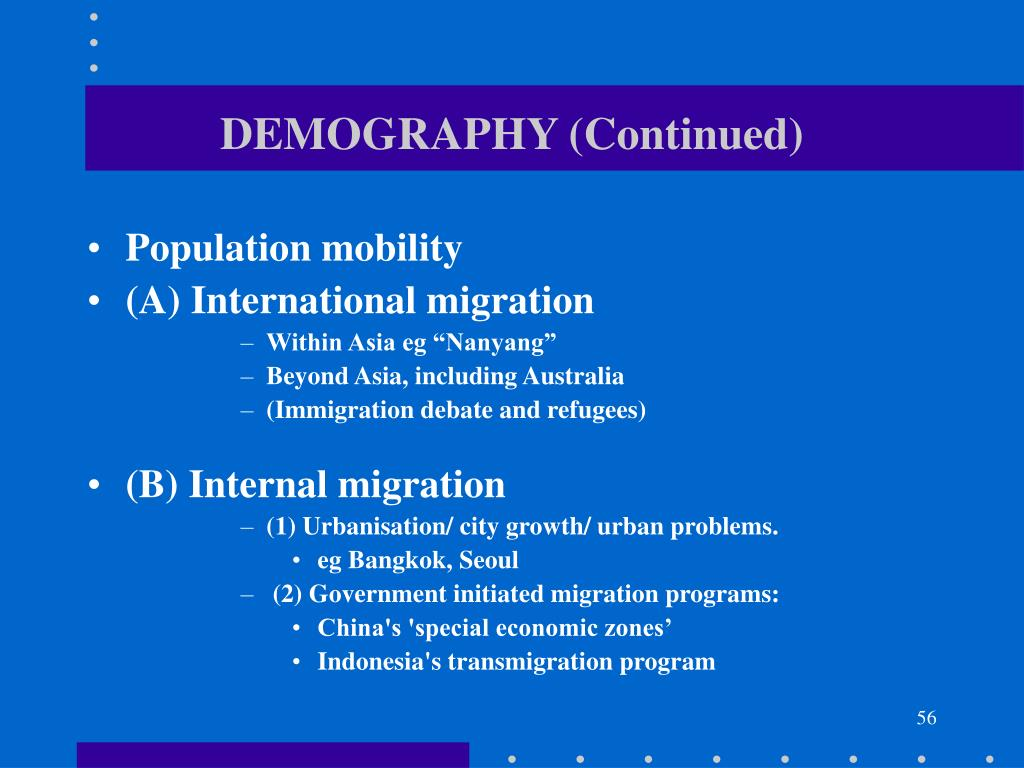DEMOGRAPHY (Continued)