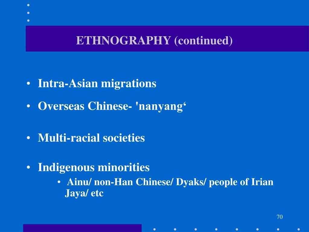 ETHNOGRAPHY (continued)
