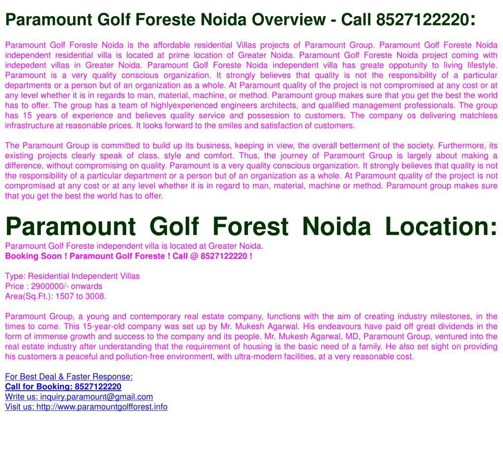 Paramount Golf Foreste Noida Overview - Call 8527122220