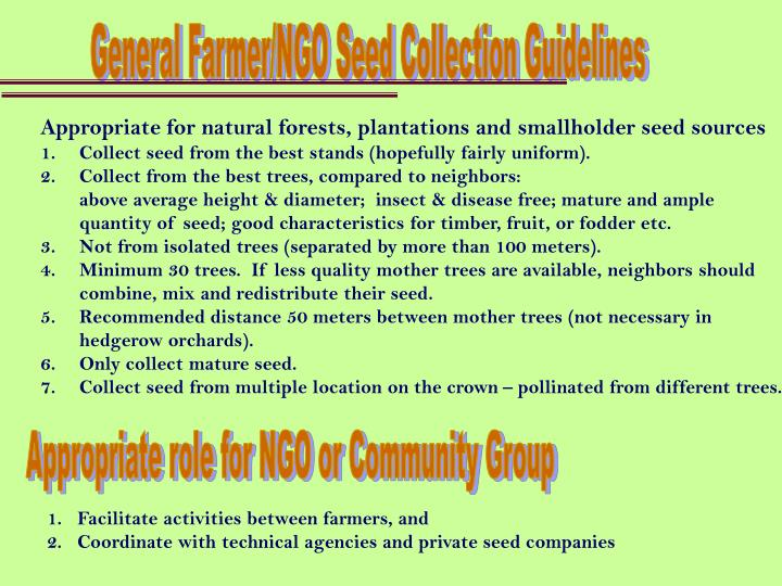 General Farmer/NGO Seed Collection Guidelines