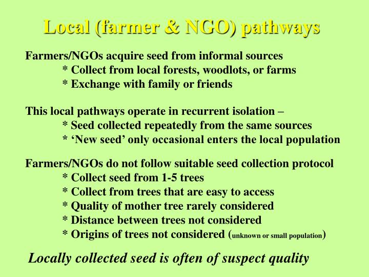 Local (farmer & NGO) pathways