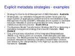 explicit metadata strategies examples