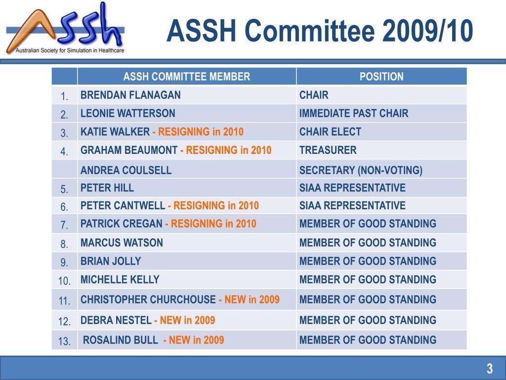 ASSH Committee 2009/10
