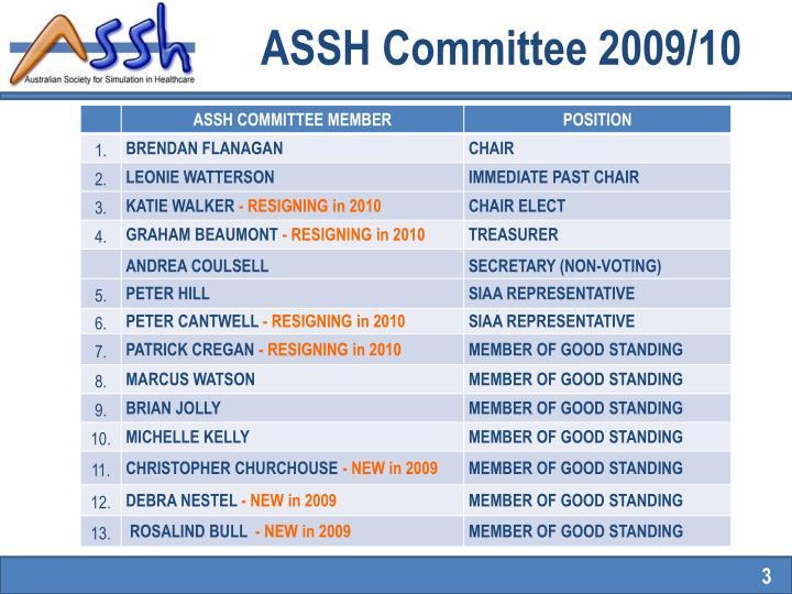 Assh committee 2009 10