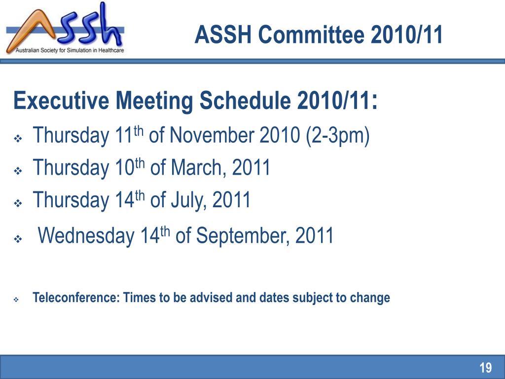ASSH Committee 2010/11
