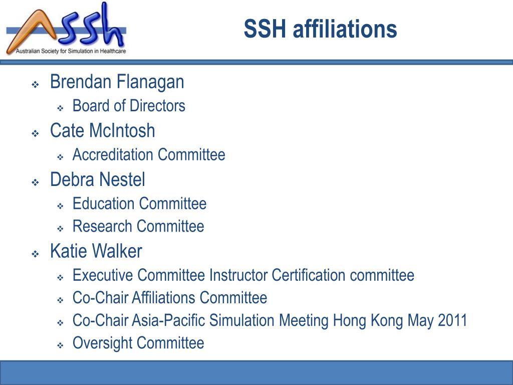 SSH affiliations