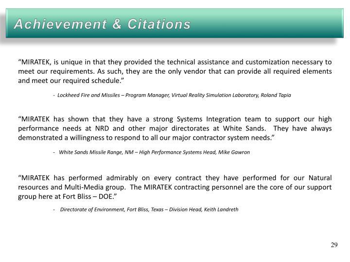 Achievement & Citations