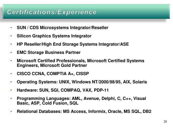 SUN / CDS Microsystems Integrator/Reseller