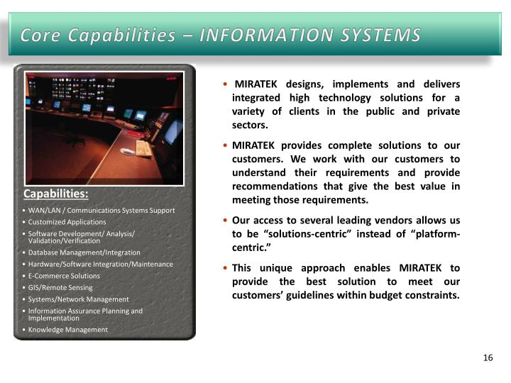 Core Capabilities – INFORMATION SYSTEMS