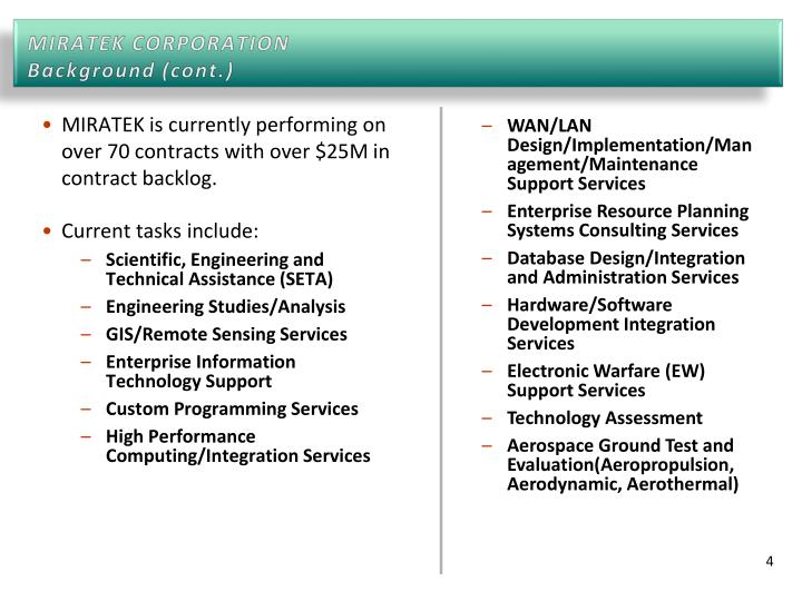 MIRATEK is currently performing on over 70 contracts with over $25M in contract backlog.