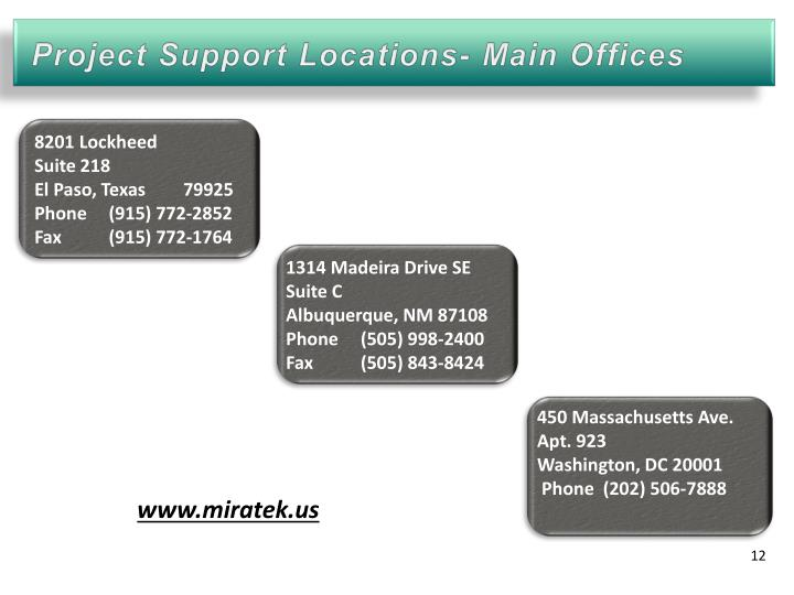 Project Support Locations- Main Offices