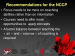 recommendations for the nccp