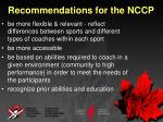 recommendations for the nccp6