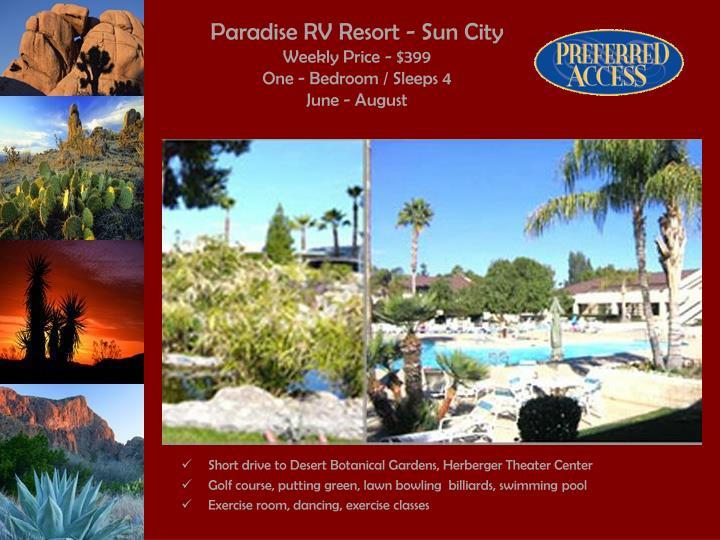 Paradise rv resort sun city weekly price 399 one bedroom sleeps 4 june august