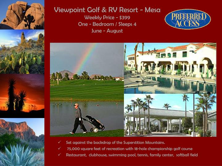 Viewpoint golf rv resort mesa weekly price 399 one bedroom sleeps 4 june august