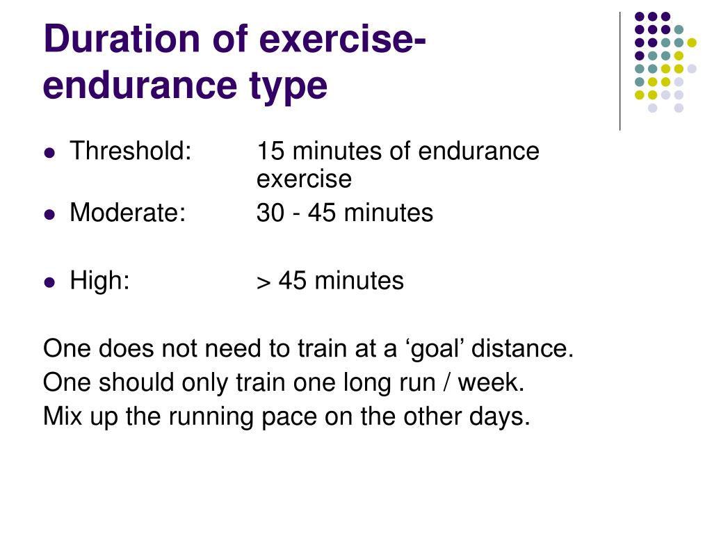 Duration of exercise- endurance type