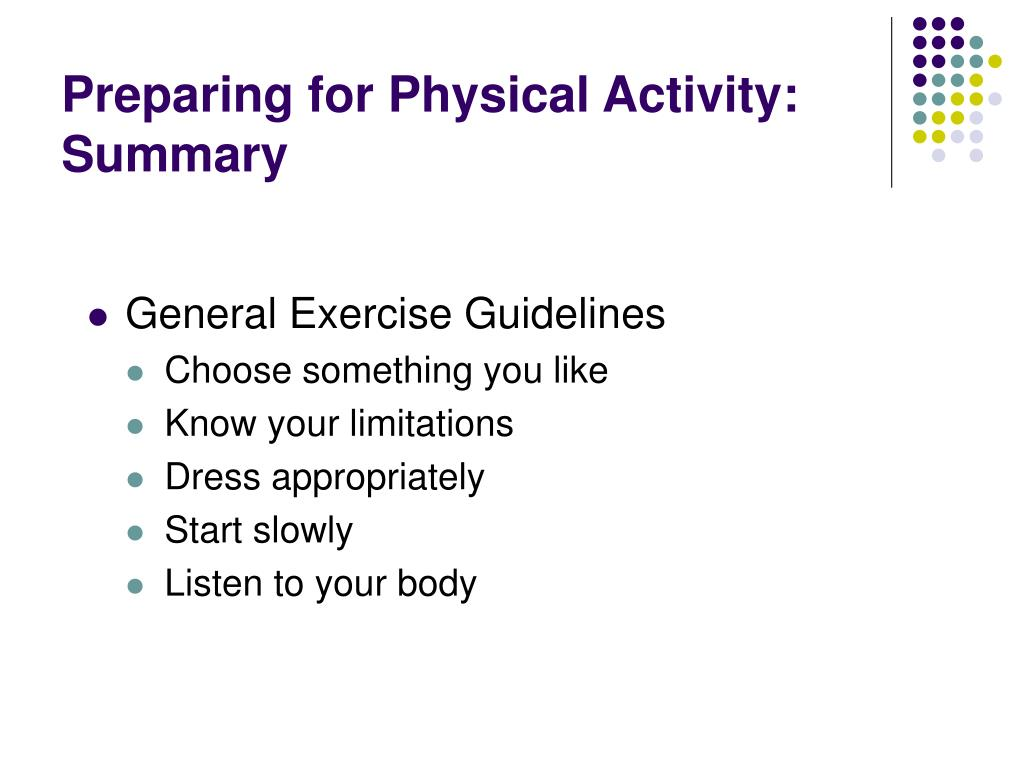 Preparing for Physical Activity: Summary