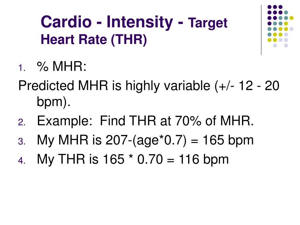 Cardio - Intensity -