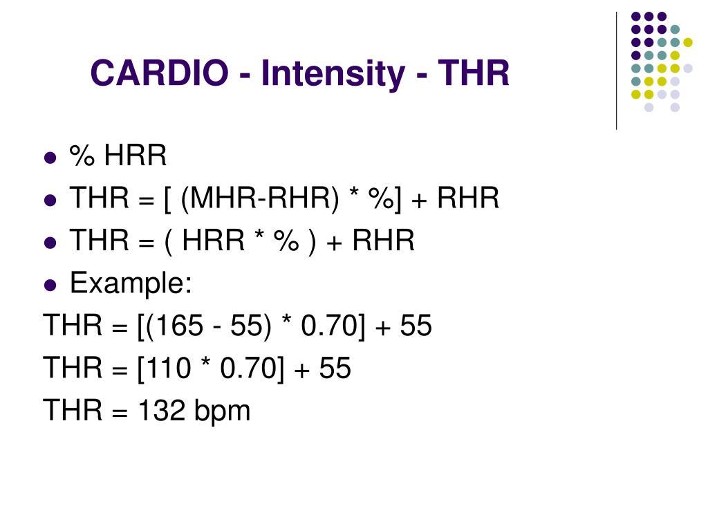 CARDIO - Intensity - THR
