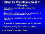 steps for reporting a break in protocol