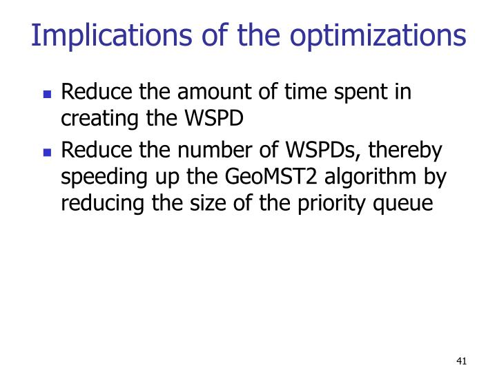 Implications of the optimizations
