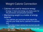 weight calorie connection