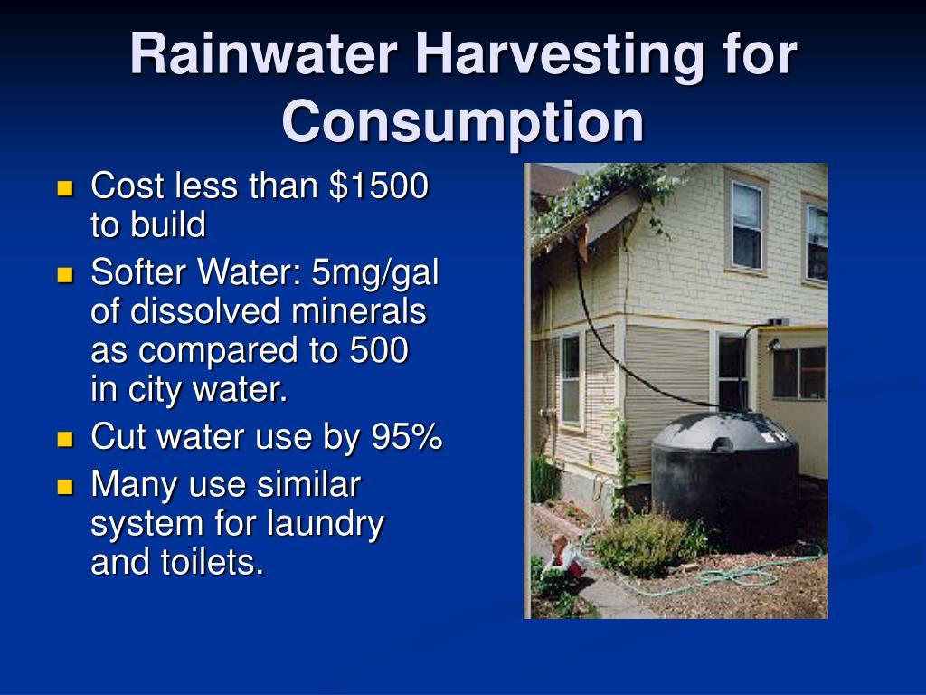 Rainwater Harvesting for Consumption