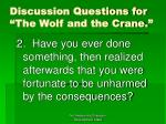 discussion questions for the wolf and the crane21