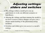 adjusting settings sliders and switches