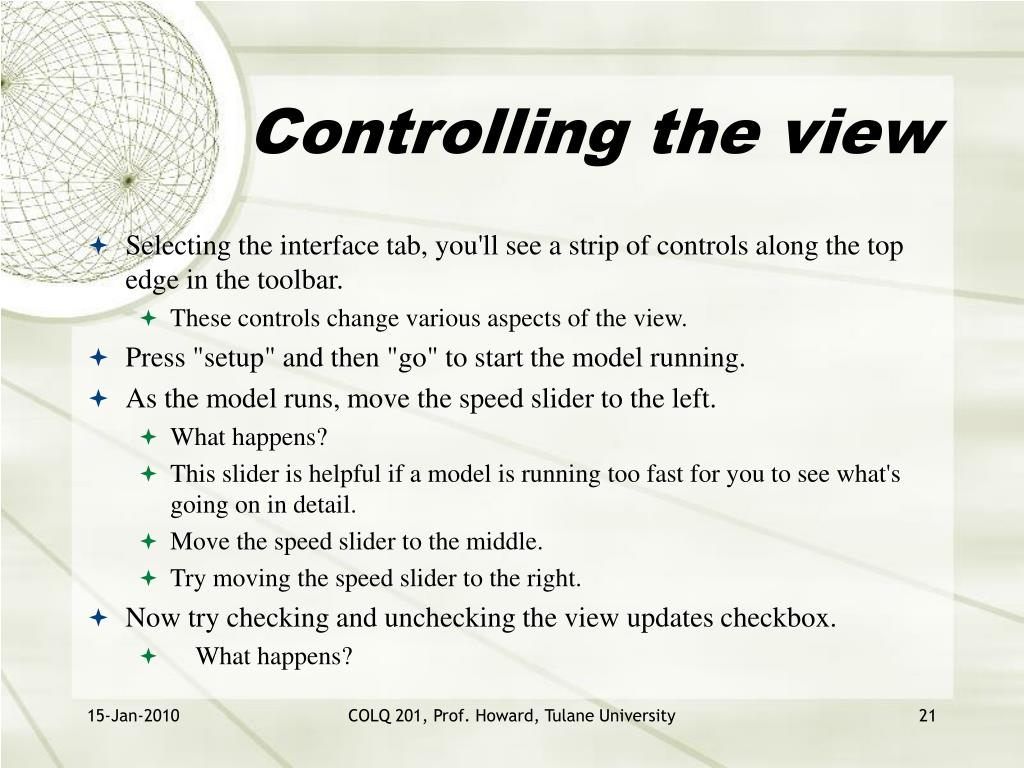 Controlling the view