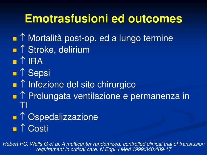 Emotrasfusioni ed outcomes