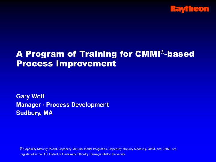 A program of training for cmmi based process improvement