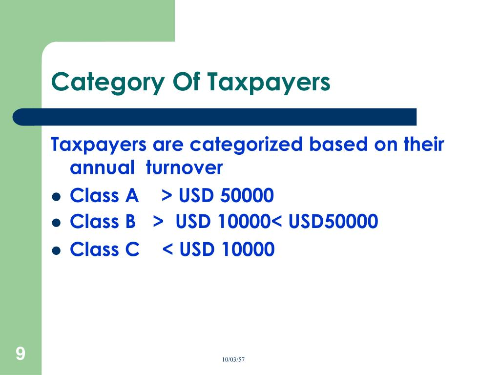 Category Of Taxpayers