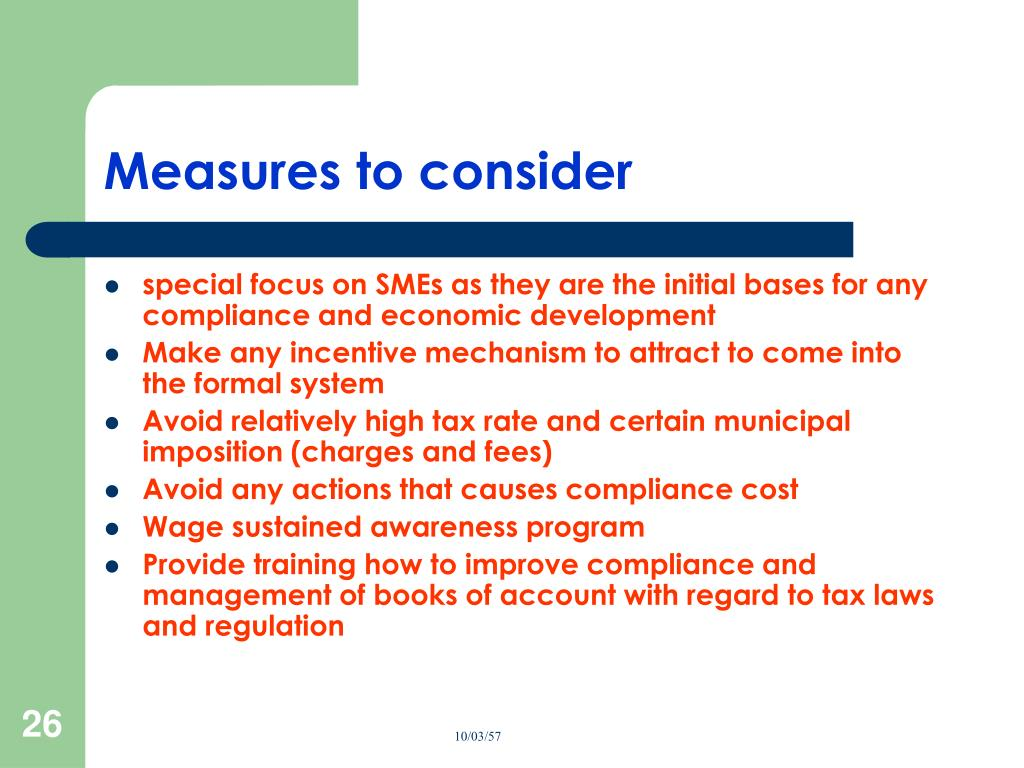 Measures to consider