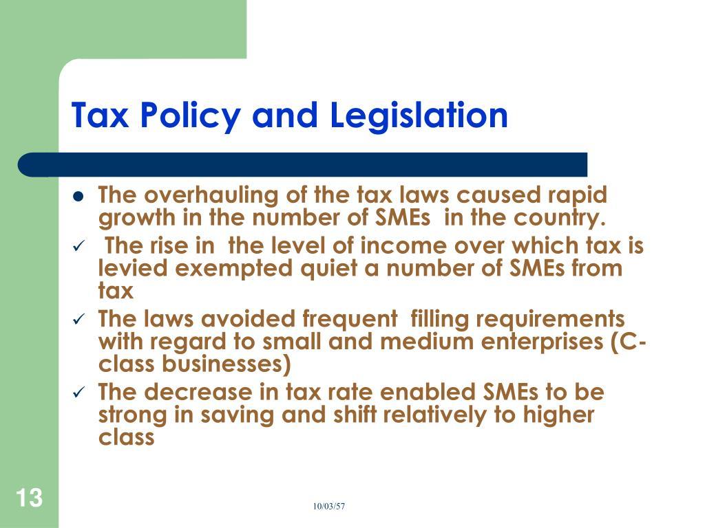 Tax Policy and Legislation