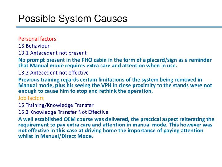 Possible System Causes