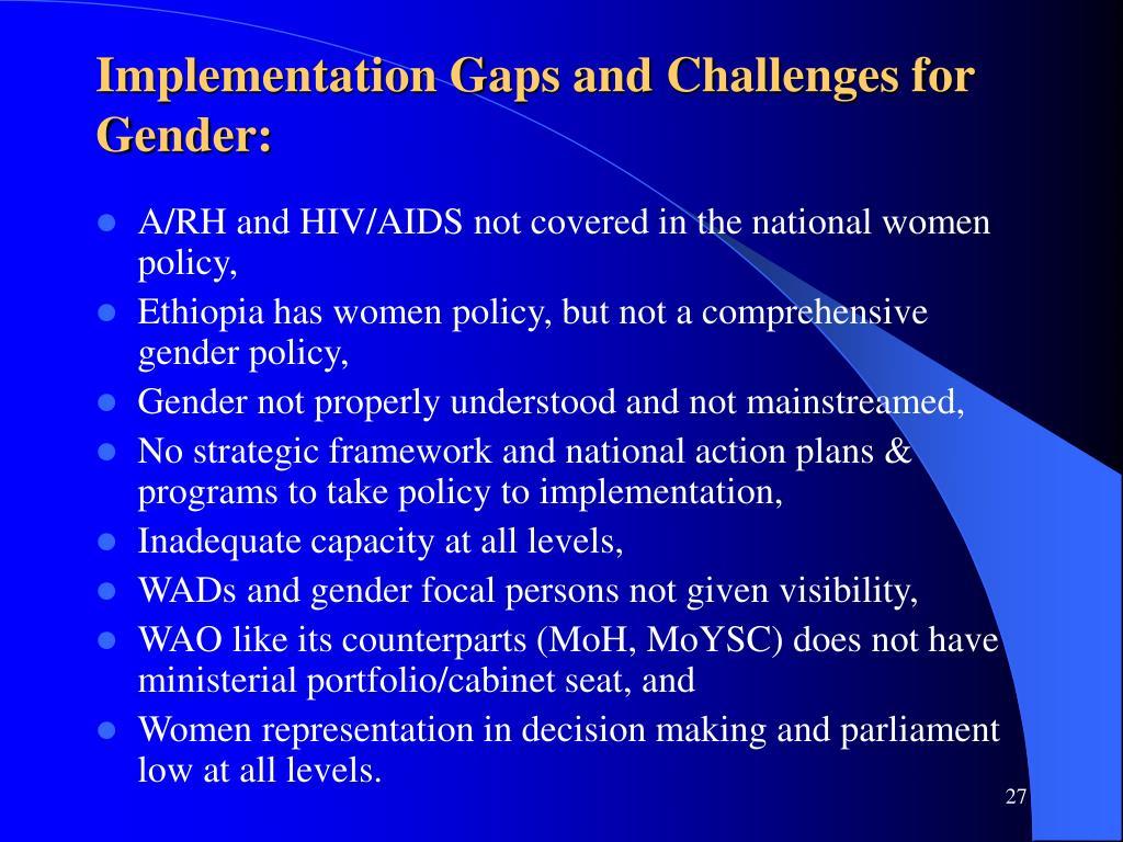 Implementation Gaps and Challenges for Gender: