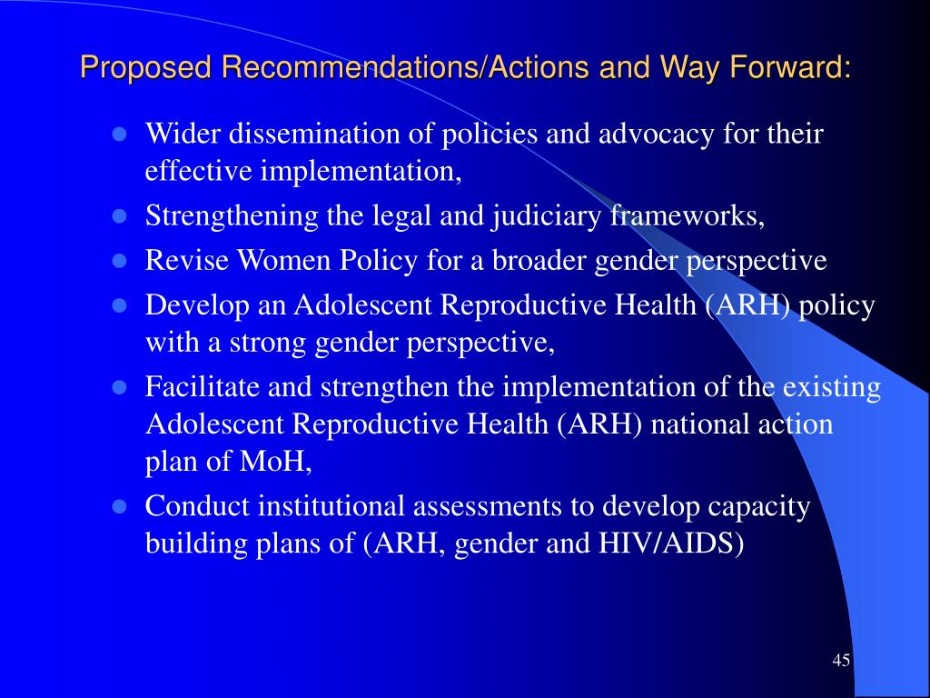Proposed Recommendations/Actions and Way Forward:
