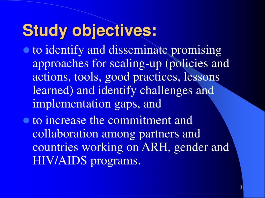 Study objectives: