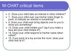 m chat critical items