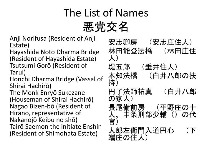 The List of Names