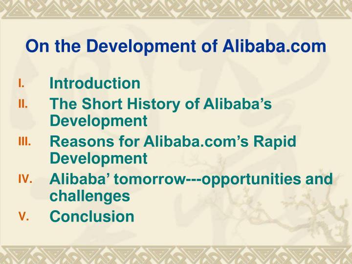 On the development of alibaba com1