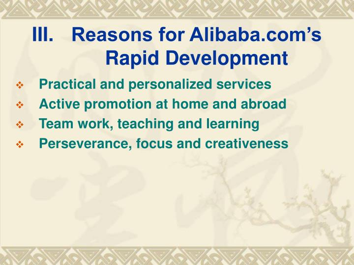 Reasons for Alibaba.com's Rapid Development