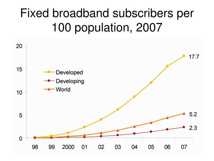 Fixed broadband subscribers per 100 population, 2007