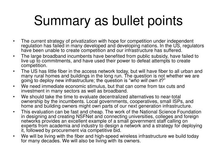 Summary as bullet points