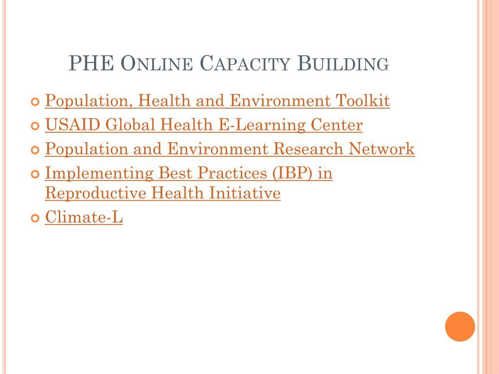 PHE Online Capacity Building