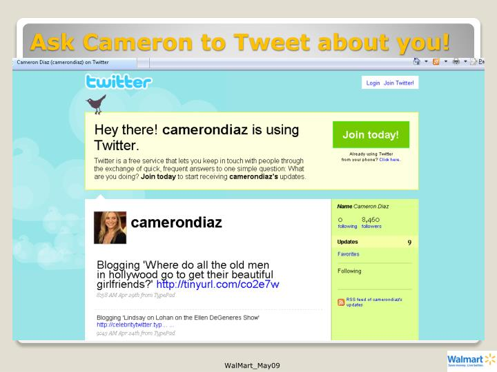 Ask Cameron to Tweet about you!