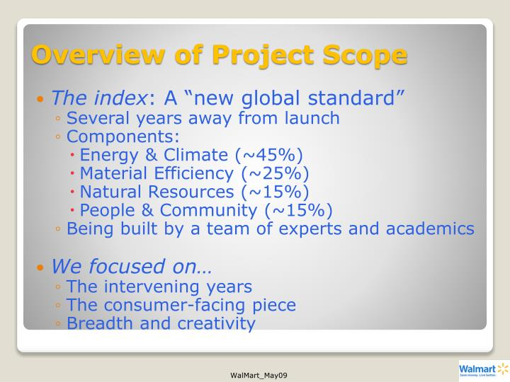 Overview of Project Scope