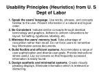 usability principles heuristics from u s dept of labor